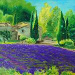 Peinture huile Provence champ lavande